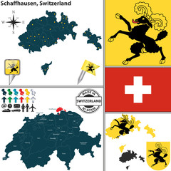Map of Schaffhausen, Switzerland