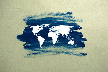 painted world map on paper