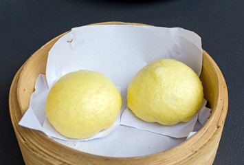 chinese steamed bun filled with cream