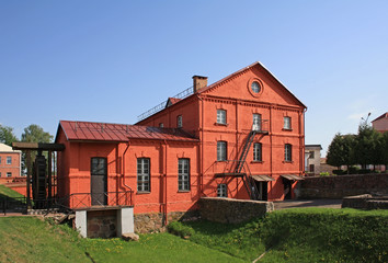 Red watermill building in Orsha