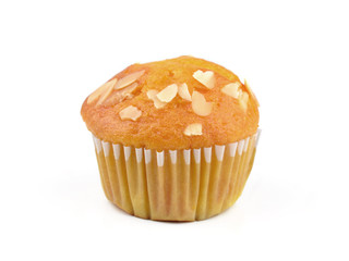 tasty muffin cake, isolated on white