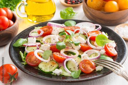 Greek salad with feta cheese
