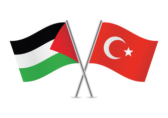 Palestine and Turkey flags. Vector illustration.