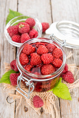 Portion of preserved Raspberries