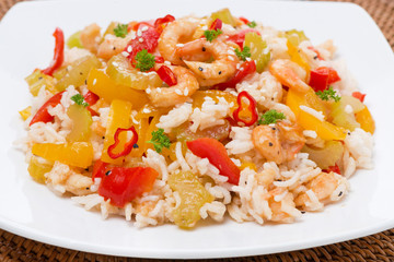 rice with vegetables with shrimp, close-up