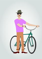 Hipster with bicycle