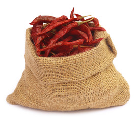 Red hot chilies with a sack