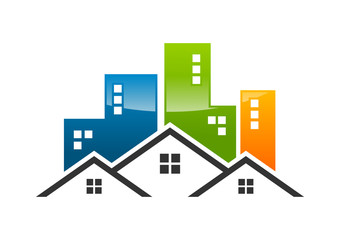logo modern home, house, apartment, town, city