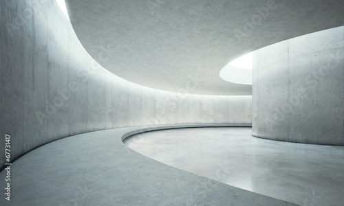 empty concrete open space interior with sunlight - 67731417