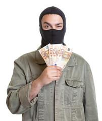 Verbrecher mit Geldscheinen
