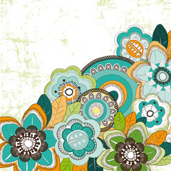 Background with blue orange an green