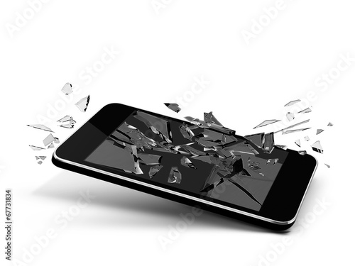 broken glass phone - 67731834
