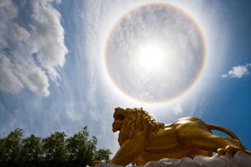 Sun with circular rainbow - sun halo