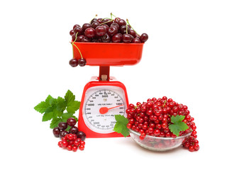 red currant and cherry, kitchen scale on white background.