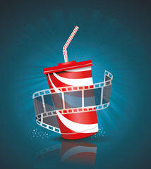 Cinema roll and cardboard cup