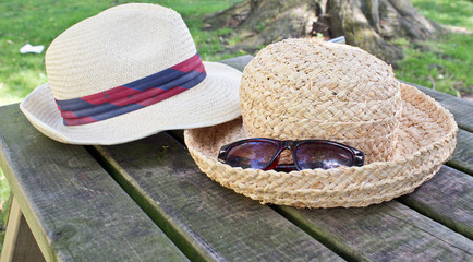 Two Straw Sun Hats