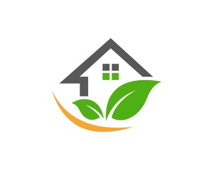 house logo, nature real estate,shelter plants home building