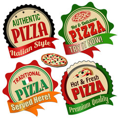 Pizza label, sticker or stamps