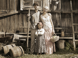 Retro styled family portrait