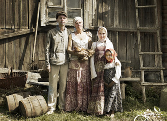 Vintage styled portrait of countryside family