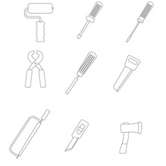 White icons construction tools. Raster