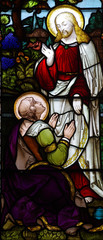 Jesus Christ and Mary Magdalene in stained glass
