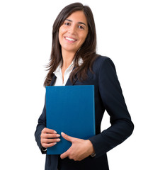 student , secretary or business woman with folder