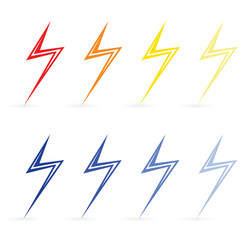Lightning different colors. Raster