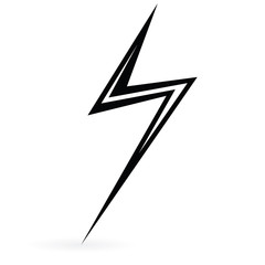 Black Icon lightning. Raster