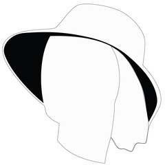 White female face profile with hat. Raster