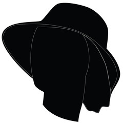 Profile of feminine face hat. Raster