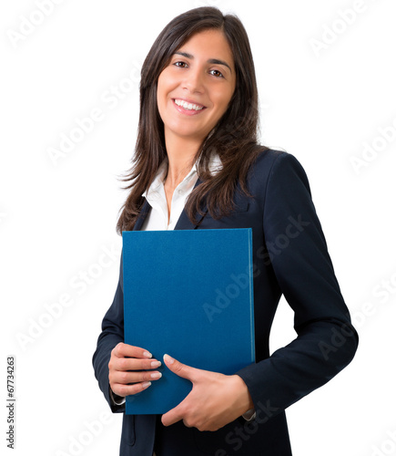 canvas print picture student , secretary or business woman with folder