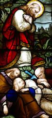 Christ in Gethsemane with sleeping soldiers