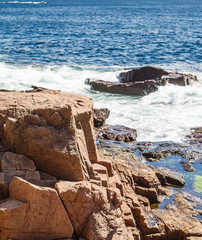 Rocky coast in the Acadia National Forst near Bar Harbor, Maine