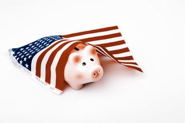 pig money box and USA flag