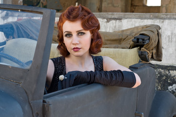 woman in a car - retro style