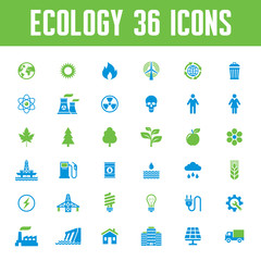 Ecology 36 Vector icons Set. Eco illustration.