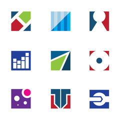 Strength corporate business logo startup vector icon set
