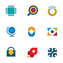 Innovation 3d technology online search icon set inspiration logo