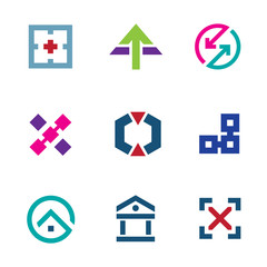 Navigation positioning menu startup business logo icon set