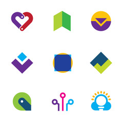 Creative creating success logo set foundation care icon vector