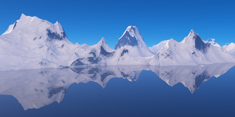 Mountains reflecting in the water.