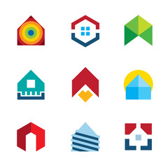 House residential build construction real estate logo icon set