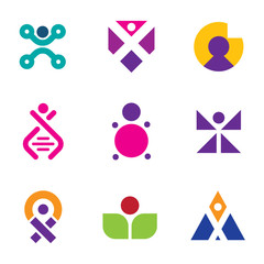 Genetic evolution human technology logo set family icon DNA