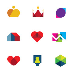 Royal shapes mosaic geometric logo vector icon set