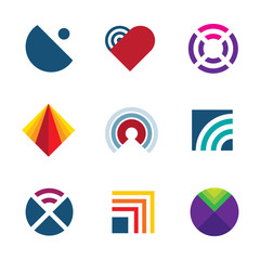 Technology transmitting signal wave radio logo icon set