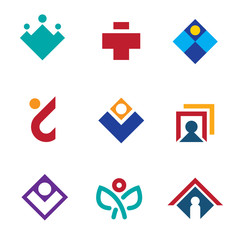 Human social network connections site icon set man logo