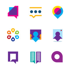 Chat talk bubble people video communication logo icon set