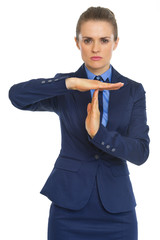 Business woman showing break gesture