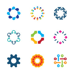Colorful social circle partnership connection bond logo icon set